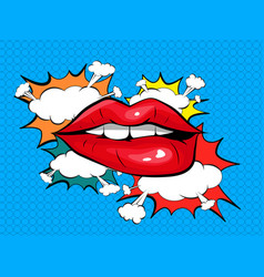 biting her red lips pop art colorful background vector image