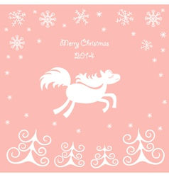 Christmas card with a running horse vector image vector image