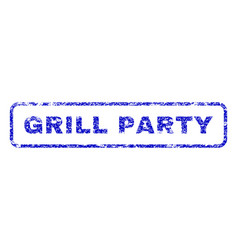 Grill party rubber stamp vector