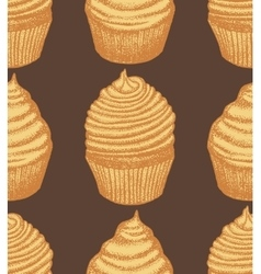 hand drawn dark cupcake background vector image