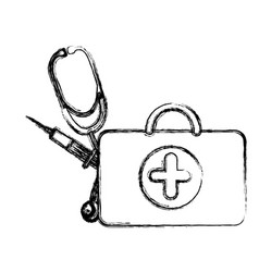 profile suitcase health with stethoscope and vector image vector image