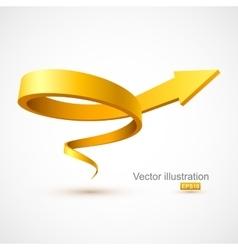 Yellow spiral arrow vector image