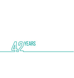 42 years anniversary or birthday linear outline vector