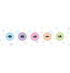 5 aquatic icons vector
