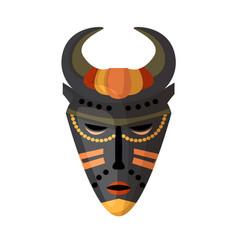 aborigine native mask totem isolated on white vector image