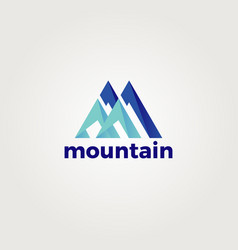 abstract letter m for mountain logo template vector image