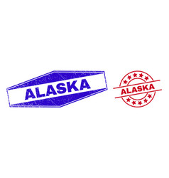 Alaska unclean stamp seals in circle and hexagonal vector