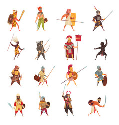 ancient warriors icons set vector image