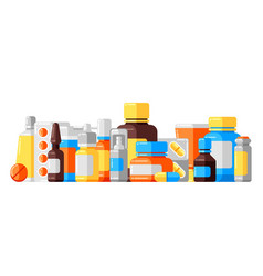 Background with medicine bottles and pills vector