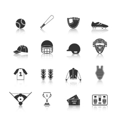 Baseball Icons Set Black vector image