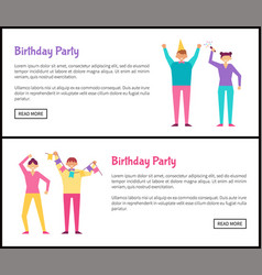 Birthday party web posters set with men and women vector