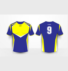 blue and yellow sport football kits jersey t-shirt vector image