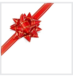 Bow of red ribbon Located diagonally vector image