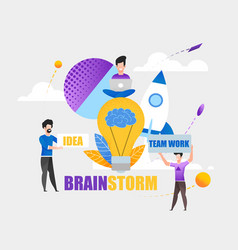 Brainstorming team work idea on many hard projects vector