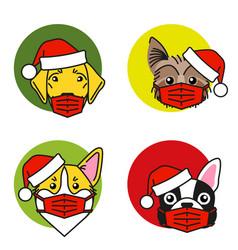 bulldog corgi lab terrier in santa hat and mask vector image