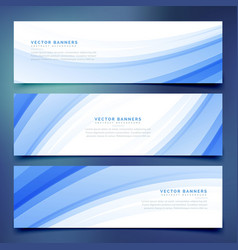 business style blue wave banners set vector image