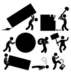 Business work burden obstacle workplace a set of vector