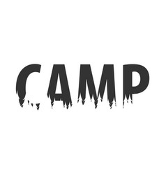 camp text or labels with silhouette of forest vector image