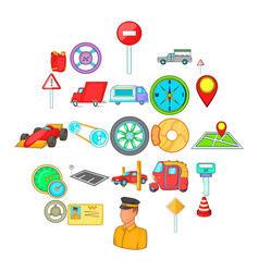 car parking icons set cartoon style vector image