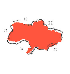 cartoon ukraine map icon in comic style ukraine vector image
