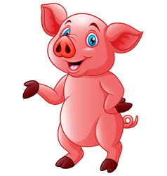 Cartoon very cute piggy vector