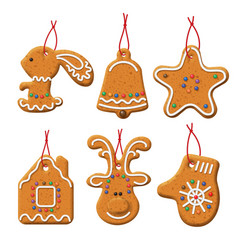 Christmas gingerbread set vector