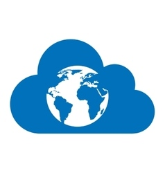 Cloud computing with world icon vector