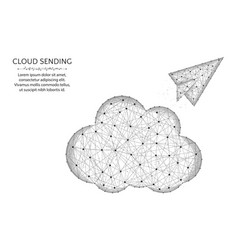 cloud low poly design paper airplane in polygonal vector image