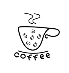 Coffee cup icons contour flat design vector
