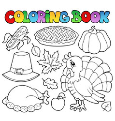 Coloring book thanksgiving image 1 vector