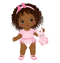 Cute african american baby girl holding bunny toy vector