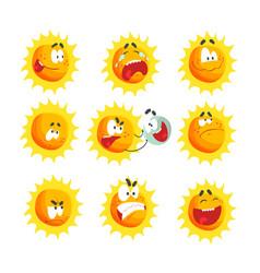 Cute cartoon sun various emoticons emotional face vector