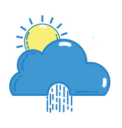 Cute cloud with sun and raining natural weather vector