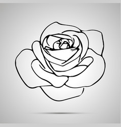 cute outline rose bud simple black icon vector image