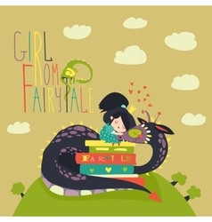 Cute princess sitting on pile of books and hugging vector image
