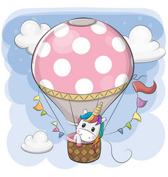 cute unicorn is flying on a hot air balloon vector image