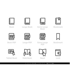 different sizes books icons pdf documents vector image
