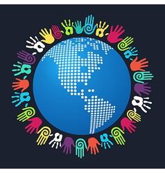 Diversity human hand America world map vector