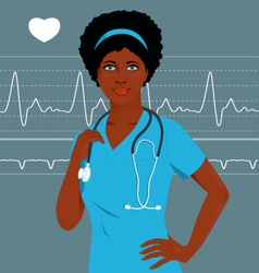 Doctor or nurse with a heart monitor vector