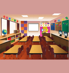 empty classroom for elementary school vector image