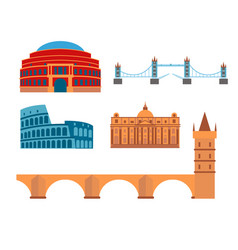 Euro trip tourism travel design famous building vector