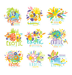 Exotic summer travel set of logo graphic vector