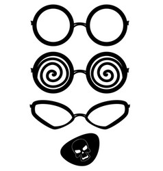 eyeglass black silhouettes vector image
