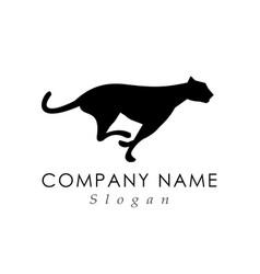 Feline running logo vector