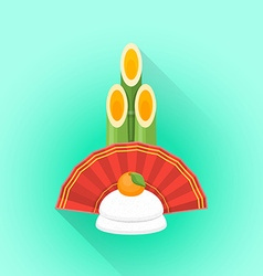 Flat kadomatsu japan new year decoration icon vector