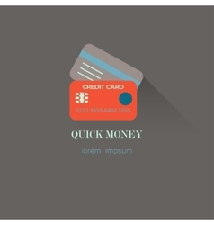 flat style credit card icon vector image