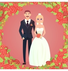 Floral frame cartoon wedding couple vector