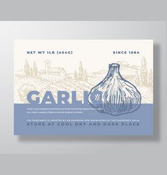 Garlic label template abstract packaging vector