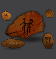geminizodiac in the form of cave painting vector image