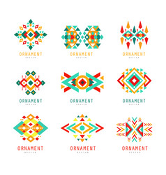 geometric ornament set abstract logo elements vector image